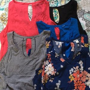 Lot of 5 Old Navy Rayon Tanks, sz XL